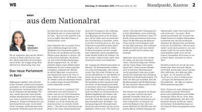 «Aus dem Nationalrat»: Das neue Parlament in Bern